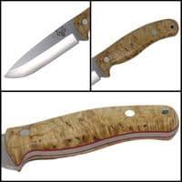 Mk II TBS Timberwolf Camp Knife - Standard Sheath - Curly Birch